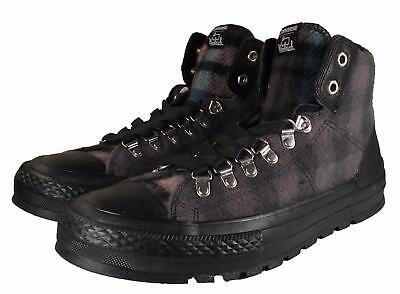 Converse Woolrich Chuck Taylor Street Hiker Sneaker Boot BLACK GREY Plaid 149385