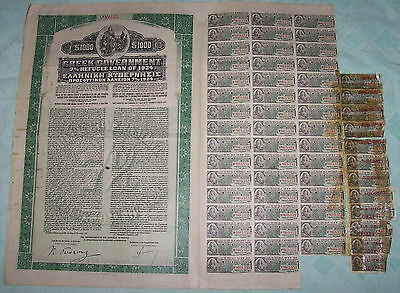 Greece Gold Bond 7% Refugee Loan 1924 Greek Government $1000 Uncancelled coupons