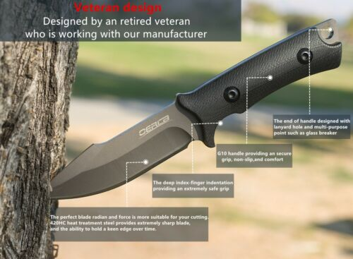 OERLA OLF-1009 Outdoor Duty Fixed Blade Knife with G10 Handle and Kydex Sheath