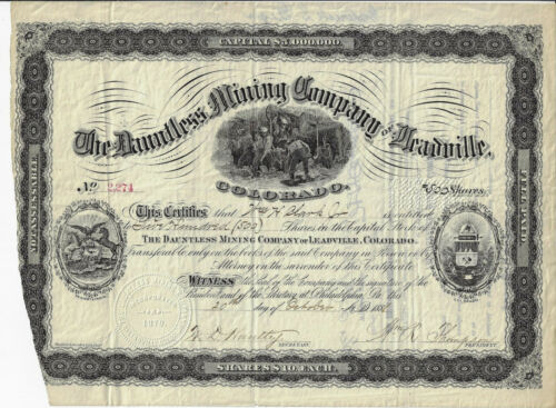 1881 COLORADO The Dauntless Mining Company of Leadville Stock Certificate