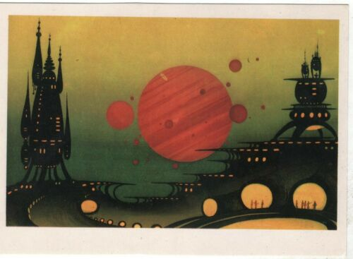 Space Cosmos Spacecraft Red Giant Fantastic. Old Soviet Russian postcard