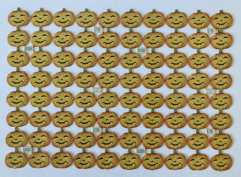 Vintage Halloween JOL Pumpkin L&B Germany Die Cut Scraps Jackolantern Sheet - 80