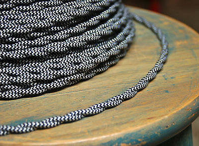 Cloth Covered Twisted Wire - Black/White Pattern, Vintage Style Fabric Lamp Cord
