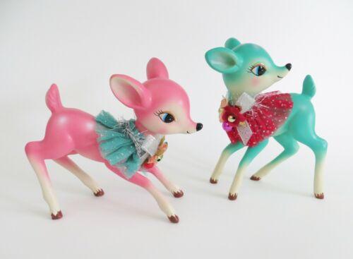 Pair Hobby Lobby Pink & Turquoise Deer Fawn Figurines Christmas Retro Nostalgia
