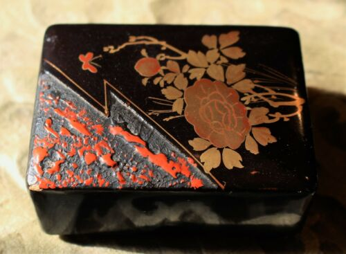 Exquisite Japanese Small Hand Lacquered and Gilded Box c. 1965