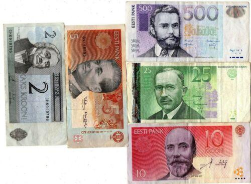 Lot of 5 VINTAGE  500 , 25 , 10 , 5 , 2 KROONI BANKNOTES ESTONIA ESTONIAN