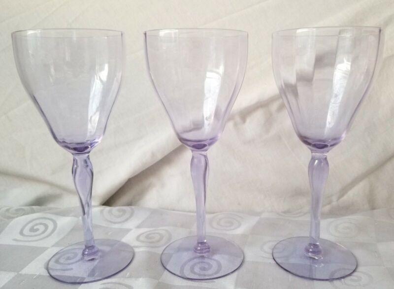 Tiffin Water Wine Neodymium Alexandrite Glasses Optic Ribs Set of 3 Rare