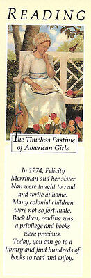 RETIRED AMERICAN GIRL FELICITY BOOKMARK! EARLY PLEASANT COMPANY READING BOOKMARK