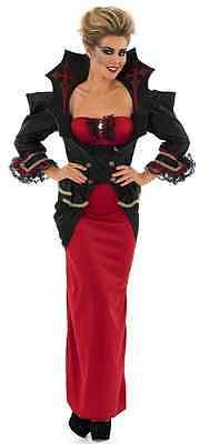 Damen Sexy Voll Länge Vampir Kostüm Kleid Outfit UK 8-30 - Sexy Vampir Übergröße Kostüm