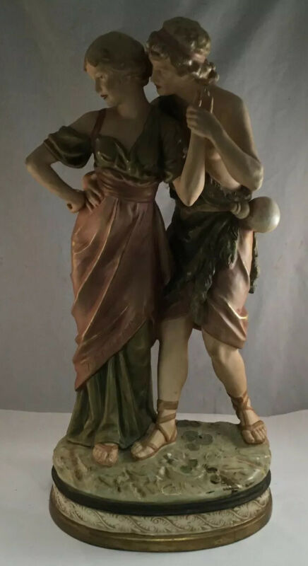 ANTIQUE ROYAL DUX PORCELAIN LARGE FIGURE GROUP STATUE COURTING COUPLE GRECIAN
