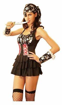 Sexy Pirat Kostüm Skull Gothic - 6-teilig -Totenkopf Karneval Fasching - Punk Skull Kostüm