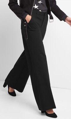 Gap Womens Wide Leg Knit Pants Size 2R- Black- NWT