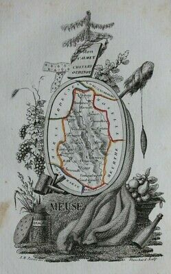 Miniature antique map, MEUSE, BAR-LE-DUC, VERDUN, FRANCE, A.M. Perrot, 1824