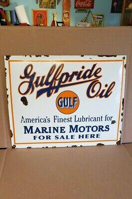 GULF MARINE PRODUCTS porcelain sign vintage OIL GASOLINE OUTBOARD BOAT MOTOR