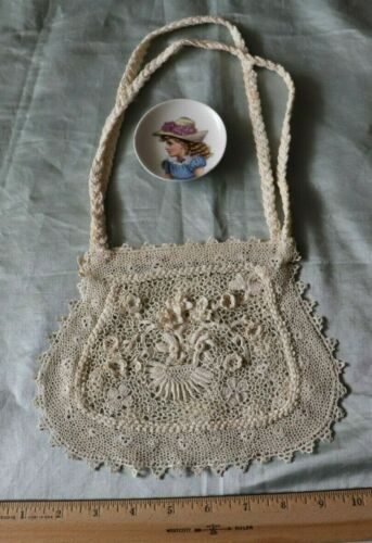 "Antique Old c1900 Irish Crochet Bridal Bag~Wedding,Lace~L-6.5"" X W-8"""