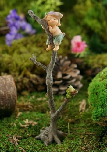 Miniature Fairy Garden Napping Sprite on Tree Branch w/ Frog - Buy 3 Save $5
