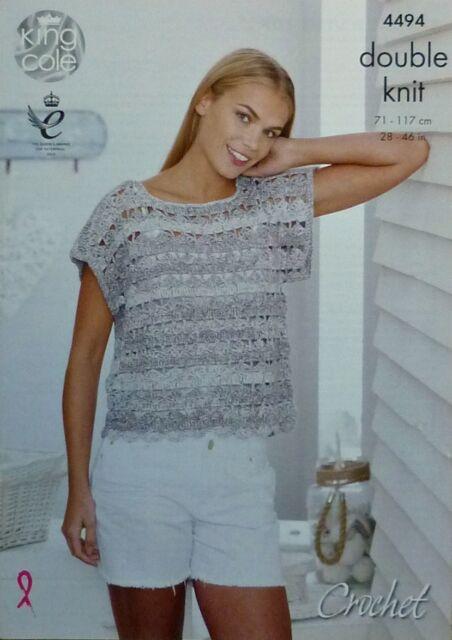 CROCHET PATTERN Ladies Short SleeveT-Shirt/Top DK King Cole 4494