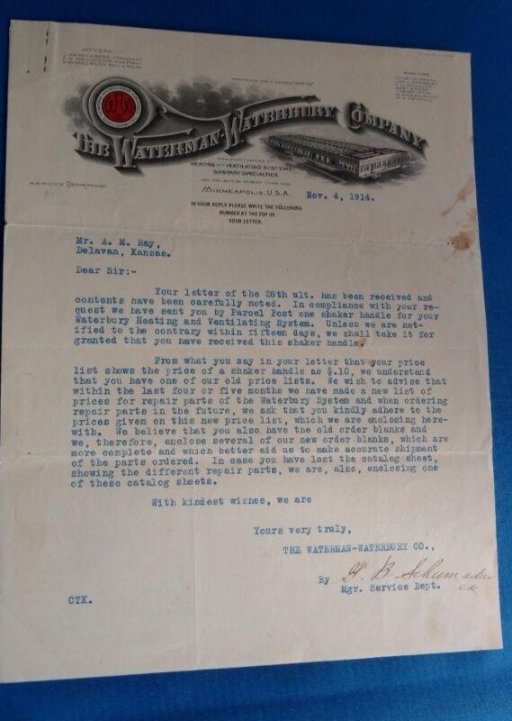 Antique Vintage Waterman Waterbury Co Furnace water heater letterhead pricelist
