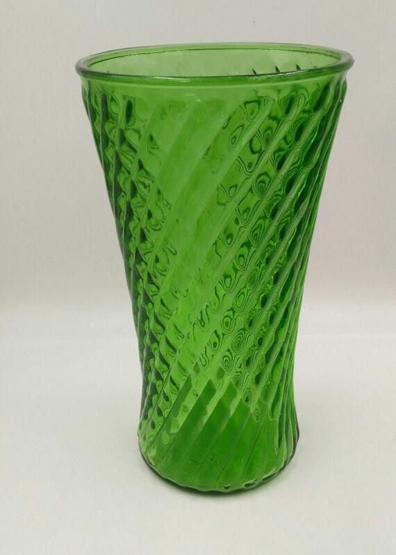"""Vtg 10"""" Green Glass Vase Diamond Pattern Randall Co"""