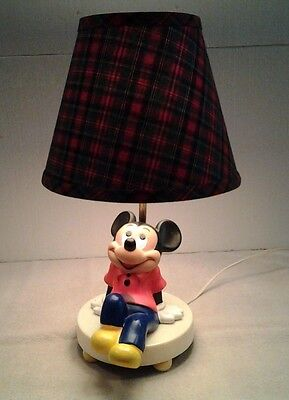 "Vintage 1976 ""MICKEY MOUSE"" lamp & nightlight 3 way switch + shade - NICE"