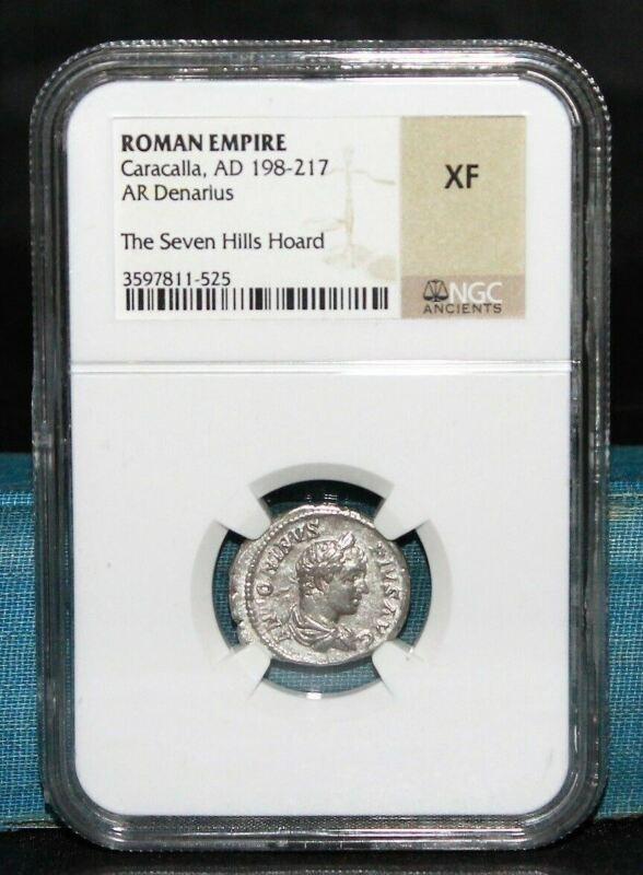 Roman Empire Caracalla AD 198-217 AR Denarius Seven Hills Hoard NGC XF