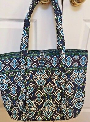 VERA BRADLEY Vera XL Large Tote Bag INK BLUE Travel Carryall Toggle Tote NWT $86