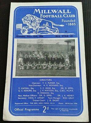Millwall v All Star XI Friendly Programme 12/11/56
