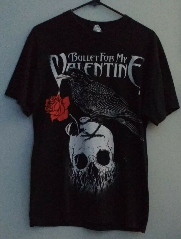 "Bullet For My Valentine ""Raven, Rose, and Skull"" T-shirt, black, adult Large."