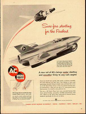 1952 vintage AD, AC Spark Plugs, Gas Turbine GM XP-21 Firebird automobile 060214