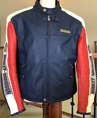 HARLEY DAVIDSON Men's Size 3XL Rapid City Blue Colorblocked Leather Jacket