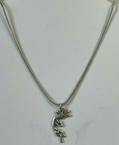 Sterling Kokopelli Pendant Signed TS Native American Silver Vintage Necklace