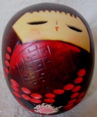Hand painted Japanese Kokeshi DOLL HEAD wooden Face Round Asian (Asian Round Face)