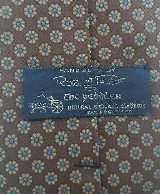 1960s – 70s Men's Ties | Skinny Ties, Slim Ties ROBERT TALBOTT FOR THE PEDDLER Silk Tie Brown Blue-1960s Made in SAN FRANCISCO  $23.94 AT vintagedancer.com