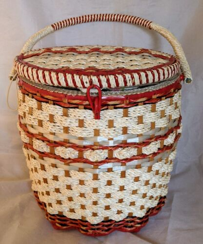 VTG Woven Wicker Sewing Craft Basket Tapestry Cushion Top w/ Insert JC Penney