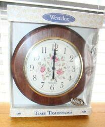 NIP Vintage Solid Wood WESTCLOX 10 1/4Wide ENGLISH ROSE Wall Clock,Uses AA Batt