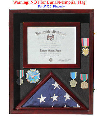 Military Shadow Box 3'X5' Flag Display Case, Made of Solid Wood, FC17-MAH