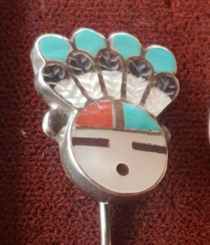 Vintage Zuni Sun Face Kachina Multi Stone Hat Pin   Stick Pin