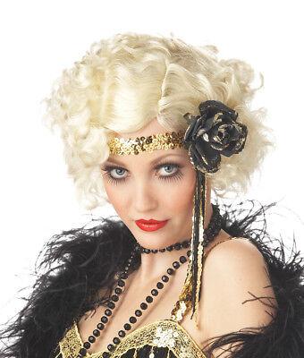 1920's Jazz Baby Curly Flapper Costume Blonde Wig Twenties 20s Fancy Dress - Baby Flapper Costume