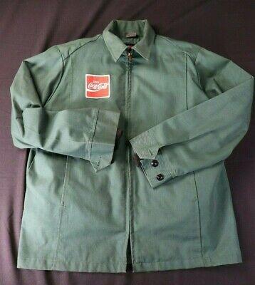VTG Coca Cola Full Zip Work Jacket Mens M 44L Green UNITOG USA Coke Coat