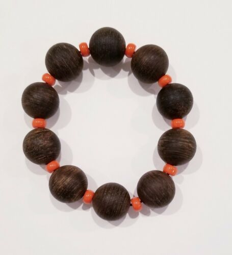 AgarWood ChenXiang Wood Bracelet diameter 1.6 cm 10 beads with Yellow Beads