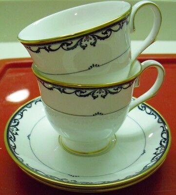 Lenox Royal Scroll - LENOX ROYAL SCROLL Cups Saucers 2 Bone China USA Classics Collection Disc 2006