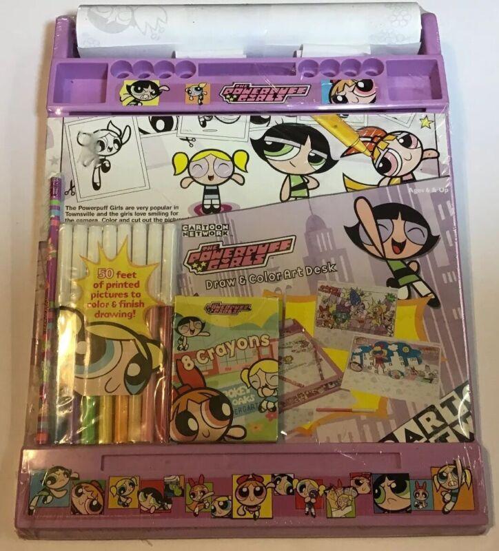 Complete Vintage 90s Powerpuff Girls Draw & Color Art Desk Toys Jakks 1999