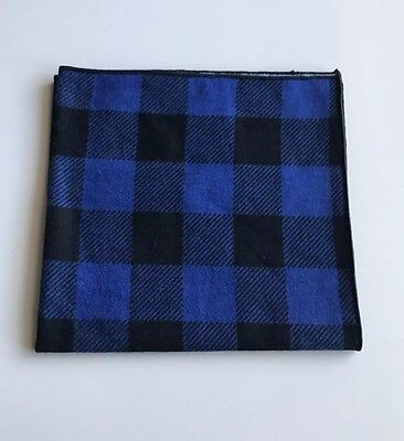 Black and Blue Checkered Flannel Pocket Square with Black Trim