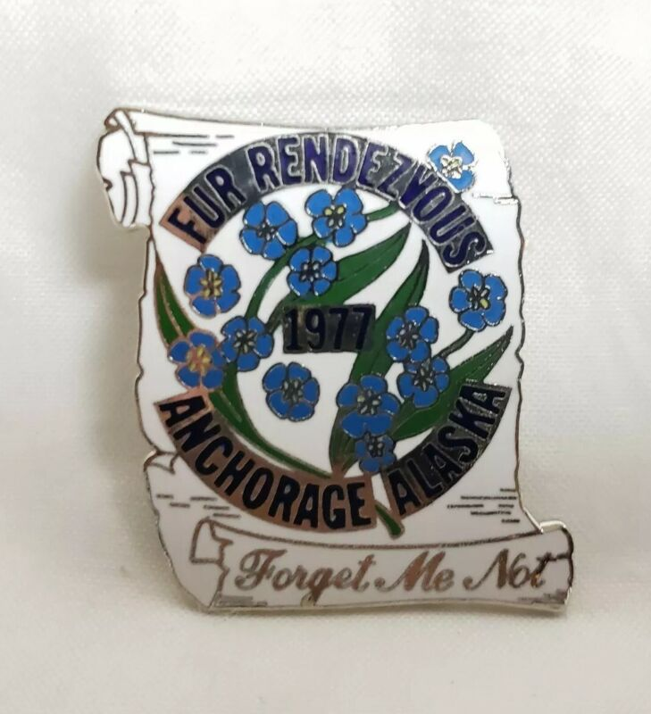 Vintage 1977 Forget Me Not Alaska Fur Rondy Pin Anchorage Collector State Flower