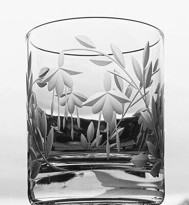 Elegant Hand Cut Crystal Cascade Design 10oz Whisky Glass
