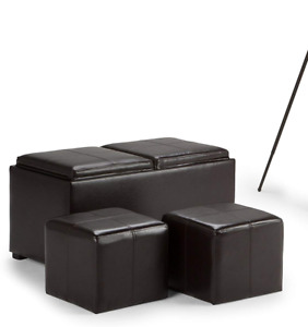 3-Piece Rectangular Storage Ottoman and Footstools