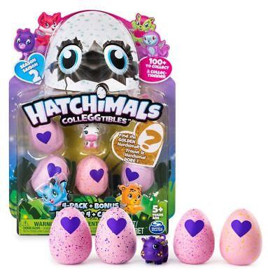 HATCHIMALS Colleggtibles egg 4 Pack + Bonus  ** FIND THE GOLDEN HAtCHIMAL **