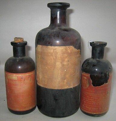 VTG lot of 3 E.R.Squibb Sons Digitalis Vomica Lobelia POISON cork top bottles Rx