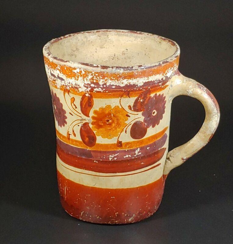 "Early Antique Ceramic / Pottery Handled Mug Red Floral Design, Makers Mark 4.5"""