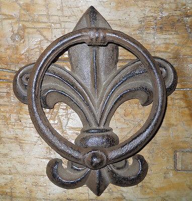 Cast Iron Antique Style FLEUR DE LIS Door Knocker Brown Finish